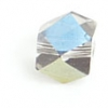 "Glass Cut Cube Facetted Bead 4X4mm 16"" Crystal/Multi Iris"